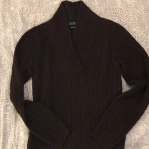 Women's 100% cashmere chocolate brown sweater.
